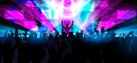 Electronic dance music festival with silhouettes of happy dancing people with raised up hands.