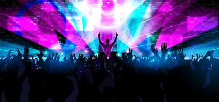 festival de música electrónica de baile con siluetas de personas bailando felices con las manos levantadas. Ilustración de vector