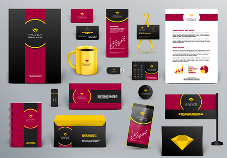 Professional  luxury branding design kit for jewelry shop, hotel, real estate or  law firm. Goldredblack style.