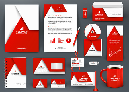 Professional universal red branding design kit with  origami element. Corporate  identity template, business stationery mock-up for real estate company. Editable vector illustration: folder, mug, etc.  イラスト・ベクター素材