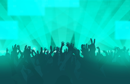 Electronic dance music festival with dancing people, hands up and glowing lights. Creative illustration.