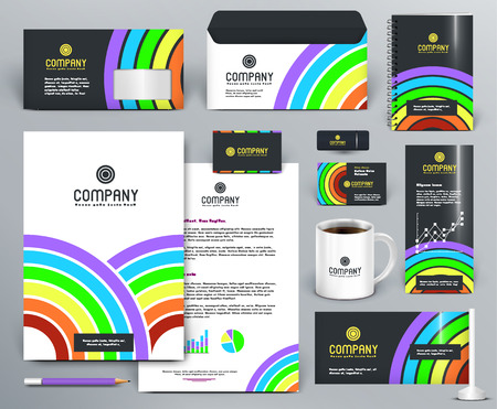 Professional branding design kit with color rainbow, circles, lines, sectors on dark and white background. For printing, entertainment, cinema.. Editable vector.