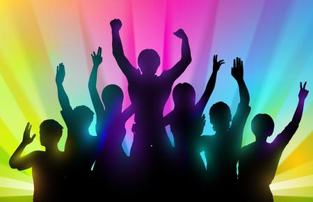 Silhouetten van gelukkige mensen met handen omhoog op een achtergrond kleur
