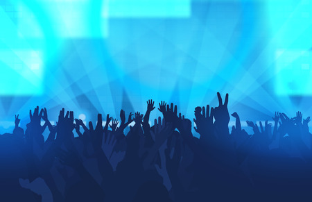 Music festival with dancing people and glowing lights. Creative illustration.