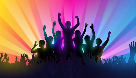 hands in the air: Silhouettes of happy people with hands up on color background. Successful teamwork or  music performance Illustration