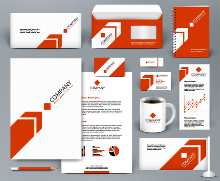 Professional universal red branding design kit with arrow for real estateinvestment. Corporate identity template. Business stationery mock-up. Editable vector illustration: folder, cup, etc.