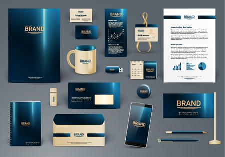 Modelo de la identidad corporativa. Branding diseño. Sobre de la carta, tarjeta, catálogo, pluma, lápiz, insignia, taza de papel, teléfono inteligente, con membrete, calendario
