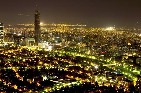 santiago: Night shot of financial district in Santiago de Chile