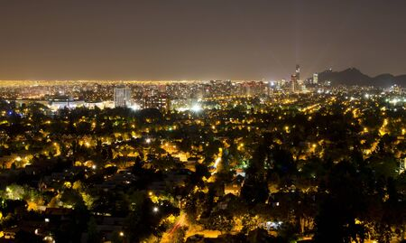 Night shot of the financial district at Santiago de Chile photo