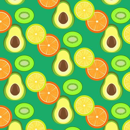 the section: lemon, kiwi, orange, avocado, background fruit section