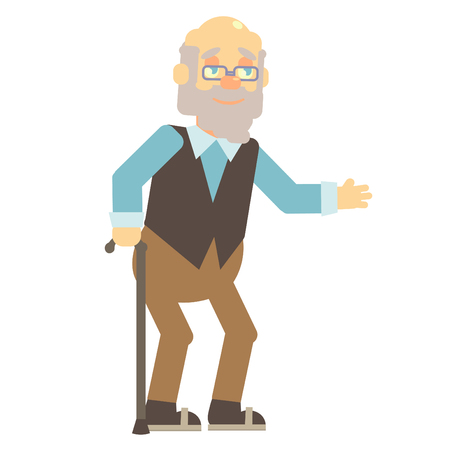 greybeard: elderly, old man, grandpa, grandfather, with glasses and vest with cane