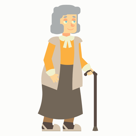 happy old age: happy elderly, old woman, grandma, grandmother with cane, stick, no background