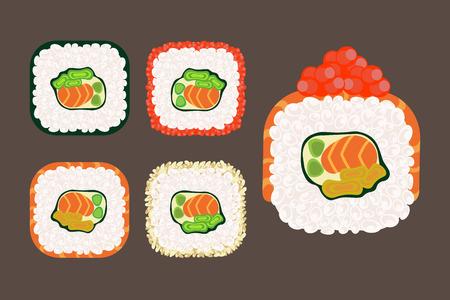 appetizing roll sushi set vector, traditional  japan food Illustration