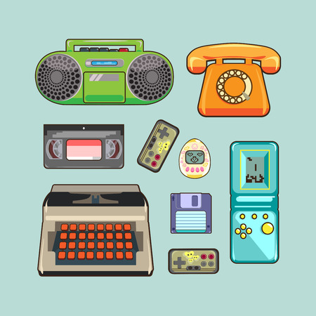 video gaming: set of retro appliances, gaming and video device, the phone Illustration