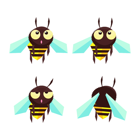 comic bee in a different mood Illustration