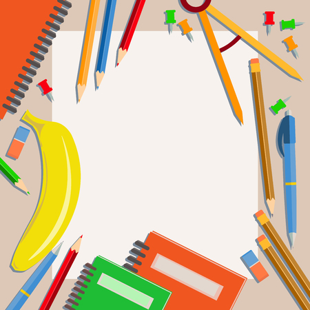 laid: Subjects are laid out on a table with an empty surface for writing. Back to school