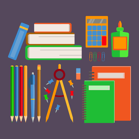 teaching crayons: Set of school supplies, office supplies, a stack of books. Back to school.