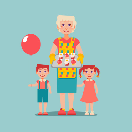 hobbies: Grandmothers hobbies and care. Elderly woman cooked cakes for her grandchildren. Boy with balloon.  Nanny look after children. Grandparents Day. Illustration