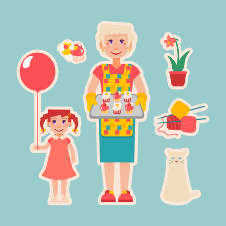nanny: Grandmothers hobbies and care: cat, knitting, plants, cooking. Elderly woman cooked cakes for her granddaughter. Girl with balloon.  Nanny look after children. Grandparents Day.