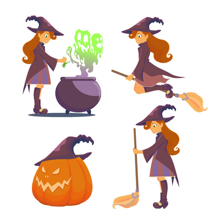 Set for Halloween. Big pumpkin with hat. Witch brews a potion scary, boilers of steam escapes green like ghosts. The witch flies on a broom, holding a broom in his hand. Illustration