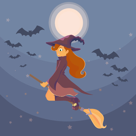 her: A young witch flying on a broom on background of the moon and the night sky, flying near a flock of bats. Long red hair witch and her cloak developed in the wind. Halloween.