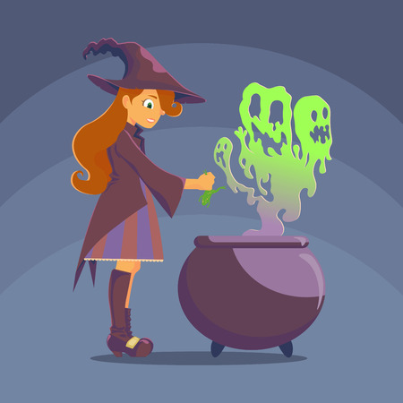 curse: Witch with a big hat, preparing a potion in the pot, from the boiler breaks green steam vapor similar to the evil ghosts. Witch frog uses as an ingredient of his curse. Halloween Illustration