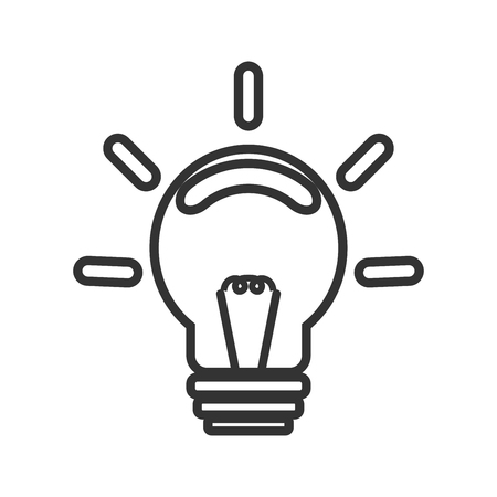 Silhouette, shape incandescent bulbs, which emit bright light. Symbol ideas, design and success. On a white background black lines.