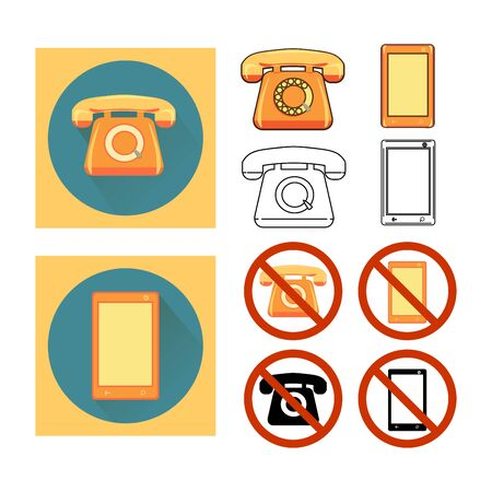 different way: Set icons phone. Retro telephone and modern phone in different way: outline, color, joint.  Call Barring. Illustration