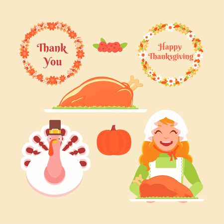 Set Thanksgiving. A girl holds a tray with a turkey, two flower wreaths, pumpkin, cranberry, dish of turkey, turkey wearing a hat.