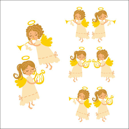 muse: Vector set Christmas angels playing musical instruments. Muse angel with a harp and curly angel - Cupid with a pipe in a white dress.