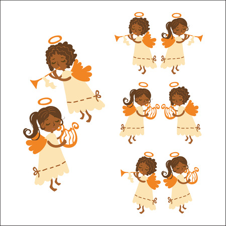 Vector set swarthy Christmas angels playing musical instruments. Muse angel with a harp and curly angel - Cupid with a pipe in a white dress.