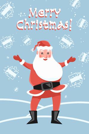 Santa Claus glad snowfall of the gifts. Greeting Card Merry Christmas. Magic of Santa on Christmas Eve.