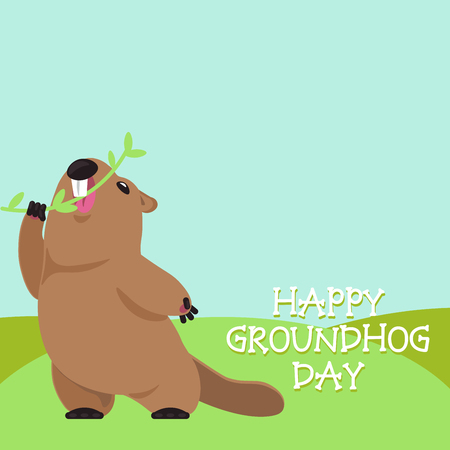 superstitious: Postcard Vector Groundhog Day. Funny groundhog bites a branch with spring leaves. Illustration