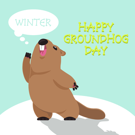 Postcard Vector Groundhog Day. Funny groundhog predicts the weather in their shadow.