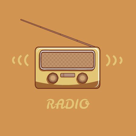 shortwave: Vector radio in retro style. Radio has a raised antenna. Illustration