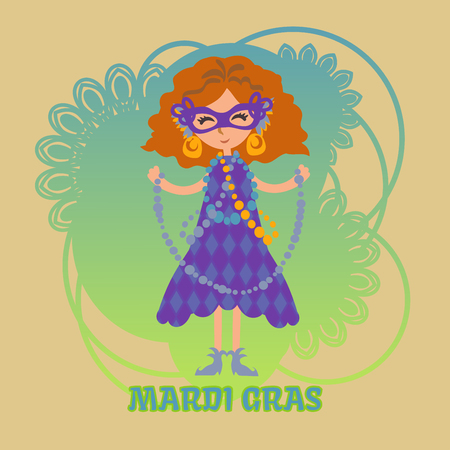 harlequin clown in disguise: Vector girl in a mask with beads on Mardi gras celebration. Masquerade. Mask with feathers and gold earrings Illustration