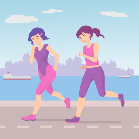 Girls are running on the coast. Girls have fun to do sports, they maintain their physical form in excellent condition.