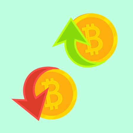 Bitbreuk met cryptocurrency. Het gouden muntstuk in vectorpictogram. Groei en prijzen geven, virtueel geld kopen en verkopen. Vector Illustratie