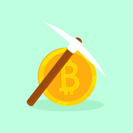 Cryptocurrency Bitcoin. The gold coin and pickaxe in vector icon. Extraction, mining virtual money. Illustration