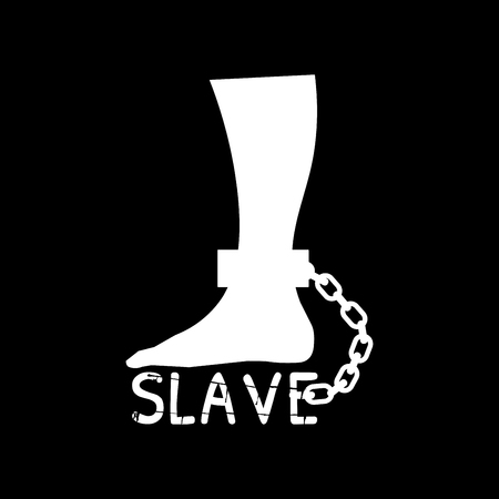 Vector silhouette of the leg in chains. A foot chained to the word slave. A sign against slavery. International Day for the Abolition of Slavery.