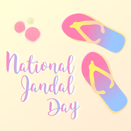 Vector greeting card National Jandal Day. Sandals on the beach, seashells and sand. New Zealand.