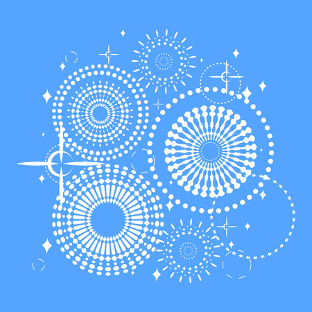 Vector pattern of abstract circles, glitter, stars as a fairy sky. Background and texture for a postcard. Illustration
