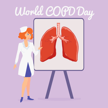 Vector poster World Chronic Obstructive Pulmonary Disease Day. World COPD Day. The doctor stands near the stand, which the lung is depicted. Lecture of the doctor about the lungs.