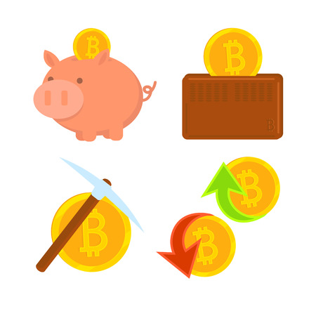 Cryptocurrency Bitcoin set. The gold coin extraction, mining. Virtual money. Bitcoin in wallet. Bitcoin in piggy bank. Vector icon. Buy and sell virtual money. Illustration
