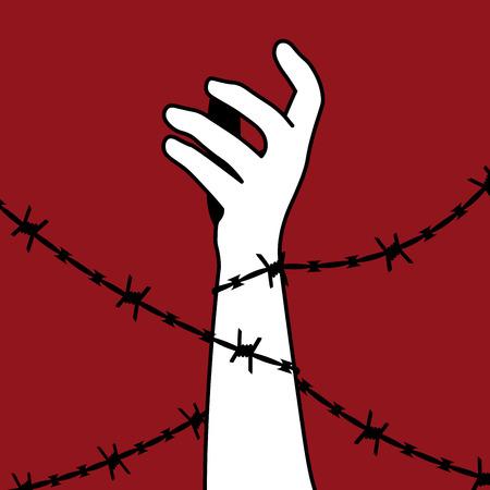 Internationaler Tag für die Abschaffung der Sklaverei. Die Hand ist mit Stacheldraht umwickelt. Vektor-Silhouette. Stacheldraht hält Mann.