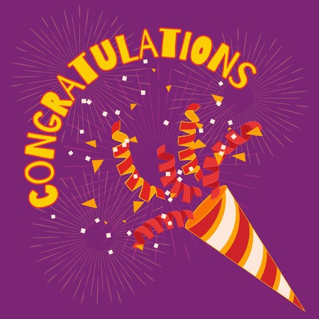 Congratulations! Confetti and serpentine flies out of the cracker. Festive decoration. Welcoming the winner. Illustration