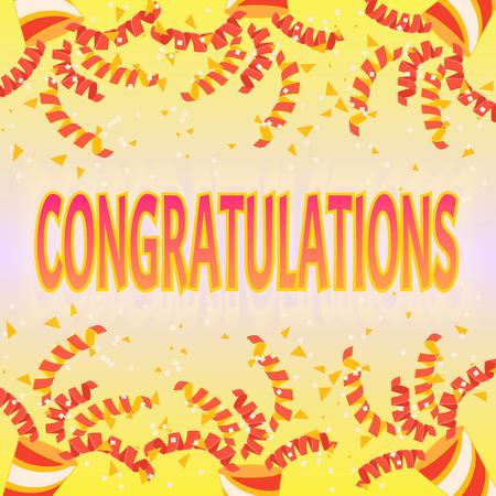おめでとう紙吹雪と蛇はクラッカーから飛び出します。お祝いの装飾。勝者を歓迎します。  イラスト・ベクター素材