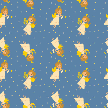 Seamless vector pattern of Christmas angels. Angelic music, playing the harp. Funny muse. Illustration