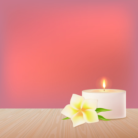 A burning candle and a white vector flower on a wooden surface. Eastern medicine.