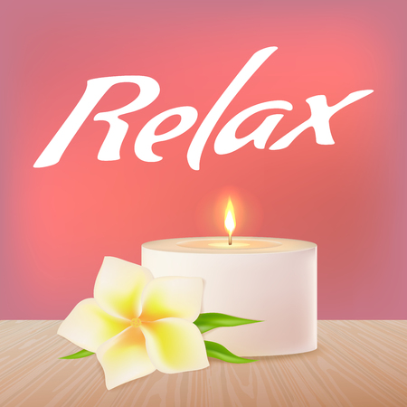 A burning candle and a white vector flower on a wooden surface. Text Relax. Eastern medicine.